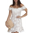 Womens Hot Popular Sexy Off the Shoulder Mini White Ruffle Bodycon Lace Dress