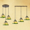 Rustic Style Multi-Color Pendant Light Craftsman 3 Lights Glass Hanging Light for Cafe Bar