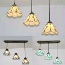 Tiffany Style Conical Pendant Lamp Blue/Beige/Clear Glass 3 Lights Hanging Light for Kitchen