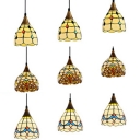 Vintage Style Bowl Island Pendant Stained Glass 3 Lights Heritage Brass Hanging Light for Restaurant