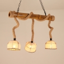 3 Lights Dome Shade Island Light Asian Style Bamboo Fabric Rope Pendant Lamp in Beige for Kitchen