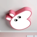 Metal Piggy LED Ceiling Mount Light Animal 4-Color Choice Flush Light in Warm/White for Kid Bedroom