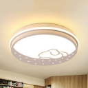 Acrylic Rabbit Moon Flushmount Light Child Bedroom Lovely Stepless Dimming/Third Gear/White Lighting LED Ceiling Fixture