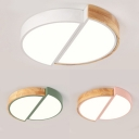 Acrylic Half-Circle Ceiling Light Nordic Style Warm/White Lighting LED Flush Light in Green/Pink/White for Hallway