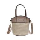 Fashion Plain Straw Beach Bag Crossbody Bucket Bag for Women 20*20*16 CM