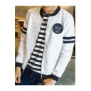 Guys Simple Letter UNLTY 1995 Pattern Stand Collar Striped Long Sleeve Zipper Front Casual Baseball Jacket