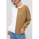 Fashion Two-Tone Colorblock Round Neck Long Sleeve White and Khaki Sweatshirt