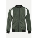 New Trendy Simple Stripe Printed Stand Up Collar Long Sleeve Zip Up Casual Army Green Baseball Jacket
