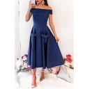 Womens Elegant Off the Shoulder Simple Plain Midi Fit and Flared Dress with Pocket