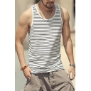 Mens Summer Fashion Striped Print Round Neck Sleeveless Casual Simple Tank Top