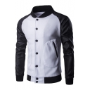 Mens Stylish Colorblock Patched Stand Collar Long Sleeve Button Down Slim Fit Baseball Jacket