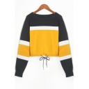Popular Colorblock Round Neck Long Sleeve Drawstring Hem Cropped Sweatshirt