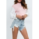 Womens Trendy Solid Color Patchwork Bow-Tied Cuff Long Sleeve Pink Cropped Sweatshirt
