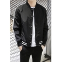 Mens Fashion Simple Striped Long Sleeve Stand Collar Button Down Casual Jacket