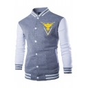 Simple Logo Printed Rib Stand Collar Colorblock Long Sleeve Button Down Slim Fit Baseball Jacket