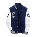 Popular Cool Letter HOOK OF CAP Colorblock Rib Stand Collar Long Sleeve Button Down Varsity Jacket