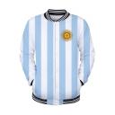 Funny Cartoon Sun Pattern Rib Stand Collar Striped Blue Baseball Jacket