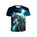 Cool 3D Galaxy Wolf Printed Round Neck Short Sleeve Blue T-Shirt