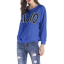 Womens Cool Simple Letter Printed Lace-Up Round Neck Long Sleeve Casual Loose Pullover Sweatshirt
