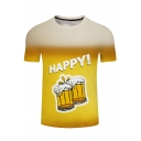 Popular Letter HAPPY Beer 3D Printed Round Neck Short Sleeve Yellow T-Shirt