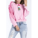 Girls Stylish Pompom Embellished Ruffled Long Sleeve Loose Fit Pullover Sweatshirt