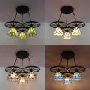 Cafe Wheel Decoration Hanging Light Beige/Blue/Clear/Green Glass 3 Lights Industrial Pendant Light