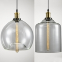 Cylinder/Globe Ceiling Pendant 1 Light Industrial Clear Glass Hanging Light for Dining Room