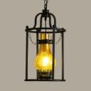 Glass Kerosene Suspension Lamp 1 Light Industrial Hanging Light in Black for Balcony Bar