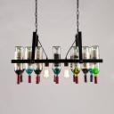 Vintage Style Multi-Color Chandelier Wine Bottle 2 Lights Glass Suspension Light for Bar Cafe