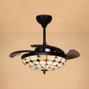 Grid Dome Villa LED Ceiling Fan Glass Tiffany Rustic Semi Ceiling Mount Light with 3 Blade