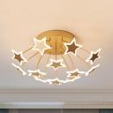 9/12 Heads Star LED Semi Ceiling Mount Light Modern Metal Ceiling Lamp in Warm/White for Living Room