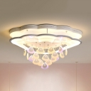 Metal Shell LED Semi Flush Mount Light Modern Ceiling Lamp in Warm/White for Nursing Room