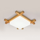 Square Study Room LED Ceiling Mount Light Acrylic Wood Japanese Style Ceiling Fixture in Warm/White