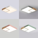Macaron Stylish Square Ceiling Mount Light Acrylic Candy Color LED Flush Light with Warm/White Lighting for Bedroom