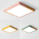 Green/Pink/Yellow Square Flush Mount Light Nordic Style Wood Acrylic Ceiling Lamp in Warm/White for Kid Bedroom