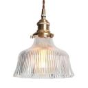 Bowl Shade Living Room Pendant Lamp Flute Glass One Light Modern Stylish Hanging Light in Brass