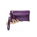 New Fashion Plaid Pattern PU Clutch Purse with Zipper for Women 21*11*2 CM
