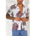 Guys Summer Tropical Leaf Printed Short Sleeve Lapel Collar Casual Loose Hawaiian Beach Shirt