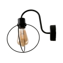 Edison Bulb Kitchen Sconce Light with Wire Frame Single Light Industrial Wall Lamp in Black Finish