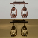 Cloth Shop Kerosene Island Lamp Metal 2 Lights Industrial Island Light in Aged Brass/Antique Copper