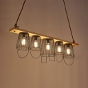 Retro Loft Bucket Caged Island Pendant Edison Bulb 5 Lights Black Island Light for Restaurant Cafe