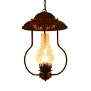 Antique Stylish Kerosene Pendant Light Cracked Glass 1 Light Bronze Ceiling Pendant for Bar