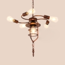 Rust Curved Arm Chandelier with Bare Bulb 6 Lights Antique Style Metal Suspension Light for Restaurant