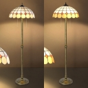 Lattice Bowl Shade Standing Light Two Lights Tiffany Vintage Floor Lamp with Pull Chain for Bedroom