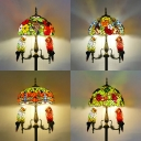 Rustic Stylish Flower Floor Lamp with Parrot Stained Glass 5 Lights Standing Light for Villa