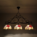 Stained Glass Floral Theme Island Light Dining Room 3 Lights Rustic Style Island Pendant in Bronze