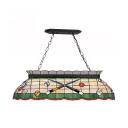 Tiffany Style Billiard Island Light Stained Glass Island Chandelier in Beige for Billiard Table