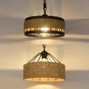 Restaurant Drum Shade Pendant Light Rope Iron One Head Industrial Beige Suspension Light