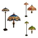 Tiffany Multi-Color Floor Lamp with Dragonfly/Flower/Leaf 2 Lights Glass Metal Floor Light for Restaurant