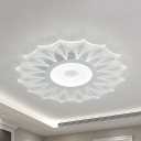 White Heart/Leaf LED Ceiling Mount Light Creative Acrylic Flush Light in Warm/White for Bedroom